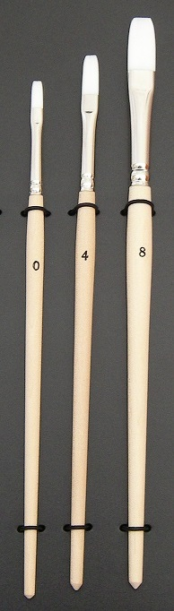ナイロン平筆短軸(塗なし)