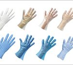 ポリエチレン、ポリ塩化ビニル、ニトリル手袋、耐熱・耐冷手袋など。